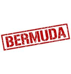 Bermuda red square stamp vector image