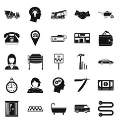 Call centre icons set simple style vector