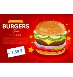 Cheeseburger sale banner template vector image vector image