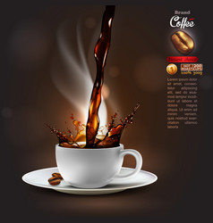 coffee advertising design with a splash effect vector image vector image