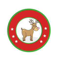 Color circular frame with reindeer vector