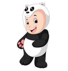 cute baby boy wearing a panda bear suit vector image