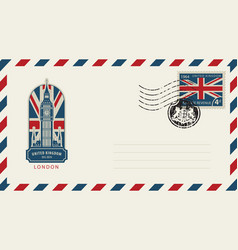 envelope with london big ben and flag of uk vector image