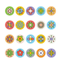 Flowers and floral colored icons 7 vector