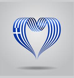 Greek flag heart-shaped ribbon vector