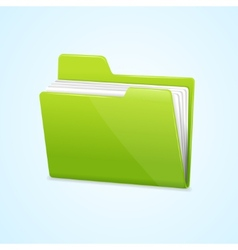 Green file folder icon isolated on blue vector image