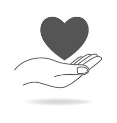 Hand holding a heart shape symbol vector