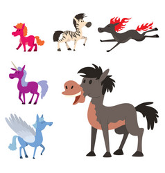 horse pony stallion breeds color farm vector image vector image