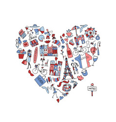 i love france icons collection sketch for your vector image vector image