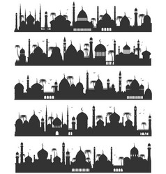 islamic city skyline flat sketch vector image