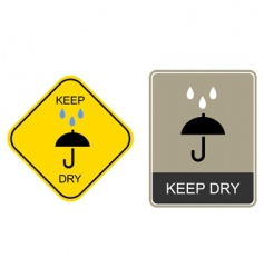 keep dry warning sign vector image vector image