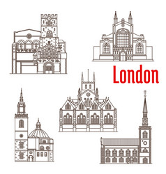 London architecture famous landmarks icons vector