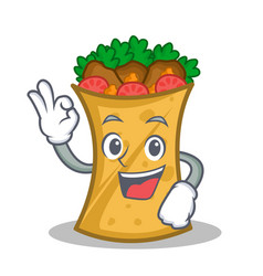 Okay kebab wrap character cartoon vector