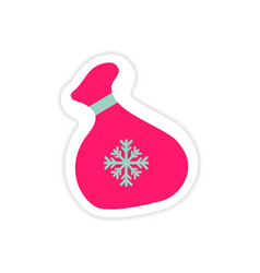 Paper sticker on white background santa sack vector