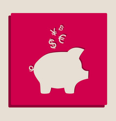 Piggy bank sign with the currencies vector