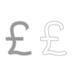 Pound sterling grey set icon vector