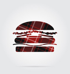 red black tartan isolated icon - hamburger vector image