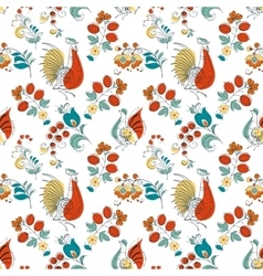 Rooster and flowers in russian style vector