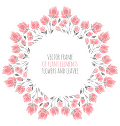 Round frame of delicate pink sakura blossoms vector