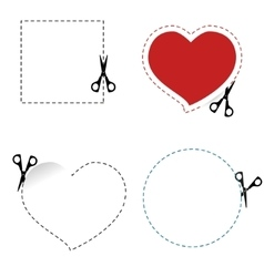 Scissors cut out the shape vector image vector image