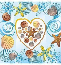 Sea love heart vector image