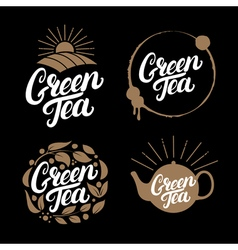 Set of green tea hand written lettering logos vector
