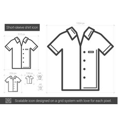 short-sleeve shirt line icon vector image
