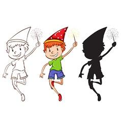 Sketches of a boy celebrating vector