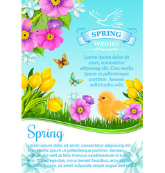 Spring wishes and flowers for greeting card vector