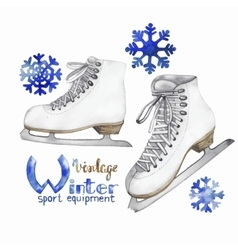 Vintage watercolor ice skates vector image
