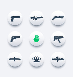 Weapons icons set pistol rifle revolver shotgun vector