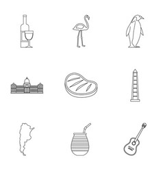Wild nature of argentina icons set outline style vector