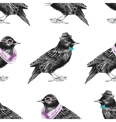 Seamless pattern with dressed up starling vector