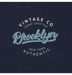 Brooklyn hand written lettering for tee print vector