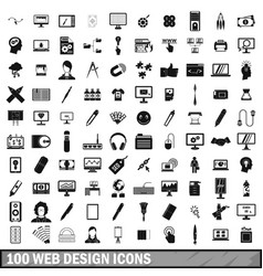 100 webdesign icons set simple style vector