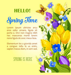 Spring flowers blooming design greetings vector