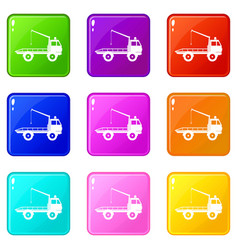 Car towing truck icons 9 set vector
