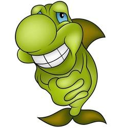 Green smiling fish vector