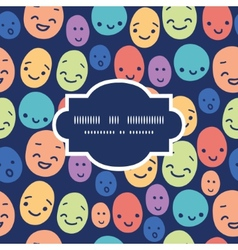 Funny faces frame seamless pattern background vector
