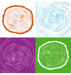 Tree wood slice natural years line circle ring vector