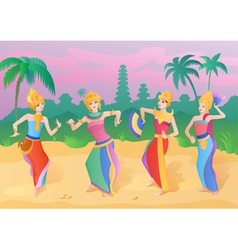 Ethnic dance indonesian girls vector