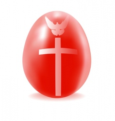 Red egg with a cross and dove vector