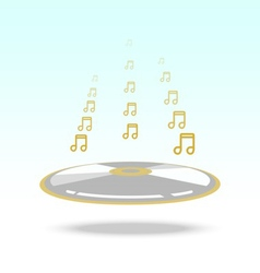 Music note floting over cd vector