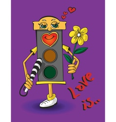 Love traffic light vector