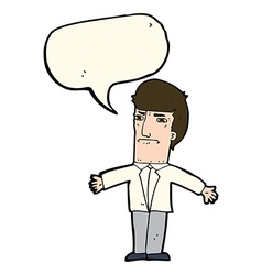 Cartoon annoyed boss with speech bubble vector