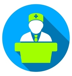 Health care official flat round icon with long vector