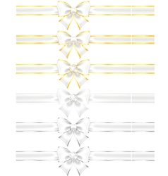 White bows with gold and silver vector image