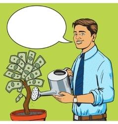 Man water money tree pop art style vector
