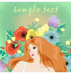 portrait of beautiful redhead girl vector image