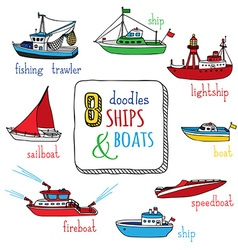 Set of doodles marine vessel icons vector